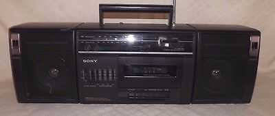 Vintage Sony CFS-1020 AM/FM Stereo / Cassette BoomBox Detachable speakers WORKS!