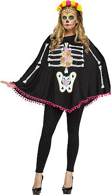 Adult Black Day of the Dead Skeleton Poncho Costume Sugar Skull Muertos Women