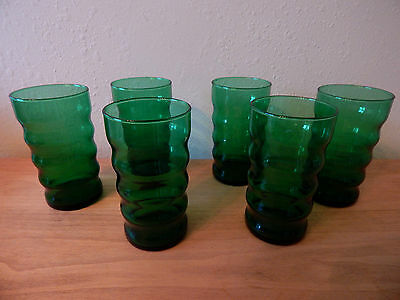 Vintage Forest Green Anchor Hocking Glass Tumblers Ribbed Set Of 6