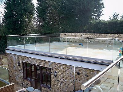 Frameless Glass balcony With Base Channel, Any Size, custom made toughened glass