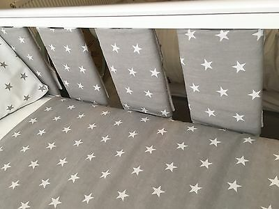 Handmade Cot Bar Bumpers Unisex Grey With White Stars (set Of 8) ⭐️