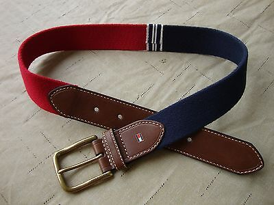 Tommy Hilfiger Kid's Belt Buckle Leather Ribbon Brown Red Navy Medium Size