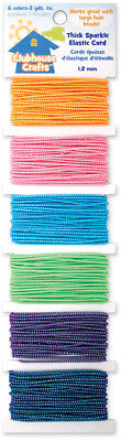 Clubhouse Crafts Elastic Cord Thick Sparkle   3yd Each Of 6 Colors 8900EC-1-11