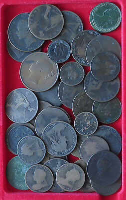 COLLECTION LOT GREAT BRITAIN PENNY HALF PENNY FARTHING 39PC 312G  #xxr 028