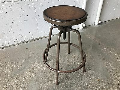 Vintage 1920s Industrial Drafting Stool w/ Adjustable Telescoping Seat