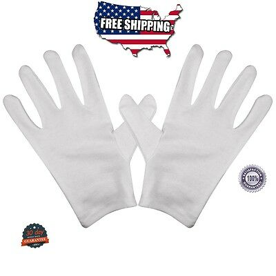 White Cotton Gloves Pack 8 Gloves film coins CD DVD Handling Gloves Pairs NEW!!!