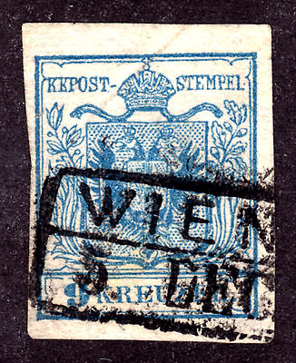 AUSTRIA #5 9kr BLUE, 1850 TYPE II, F, WIEN CANCEL