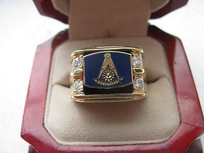 NEW! Mens Masonic Past Master Crest Gold Ring