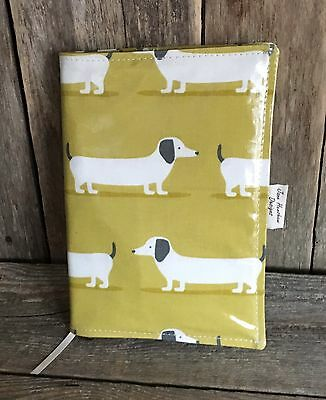 A5 Diary Cover,Journal Cover,Nurses Diary Cover,Lime Green Dachshund Oilcloth