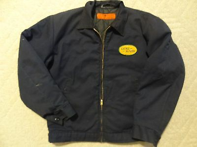 MENS Dickies Jacket w Vintage LAND ROVER Oil Gas Car Racing Patch M