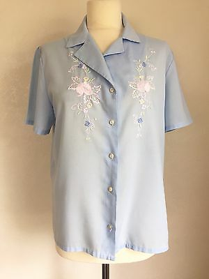 True Vintage Late 70's/Early 80's Retro Floral Embroidered Blouse