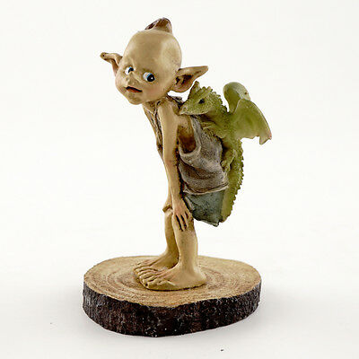 Garden Pixie with Baby Dragon on Wood Stump - Top Collection Fairy Garden