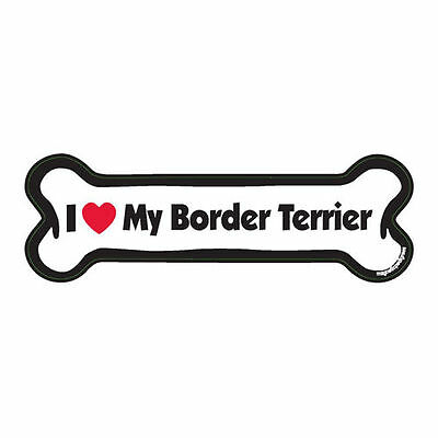 I Love My Border Terrier Dog Bone Car Magnet