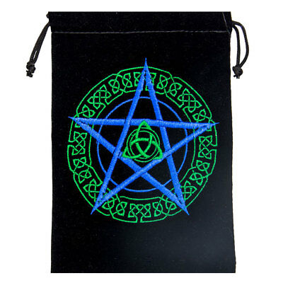 "NEW Embroidered Pentagram and Triquetra Tarot Bag 5x7"" Wicca Pagan Velvet Pouch"