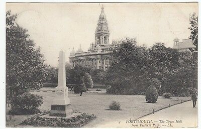 PPC: The Town Hall from Victoria Park, Portsmouth 1907
