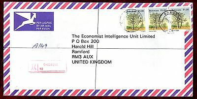 "BOTSWANA STAMPS- Tree 1p , airmail ""R"" cover to UK , 1996"