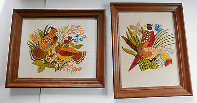 Pair Framed Vintage Erica Wilson Pheasants Quail Crewel Embroidery Finished