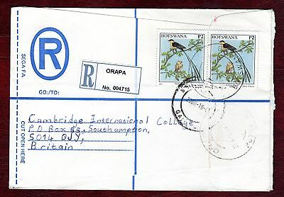 "BOTSWANA STAMPS- Birds 2p , airmail ""R"" cover to UK , 2000"