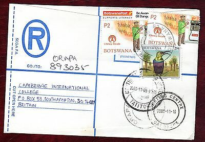 "BOTSWANA STAMPS- Birds 25t +Literacy decade 2p , airmail ""R"" cover to UK , 2000"