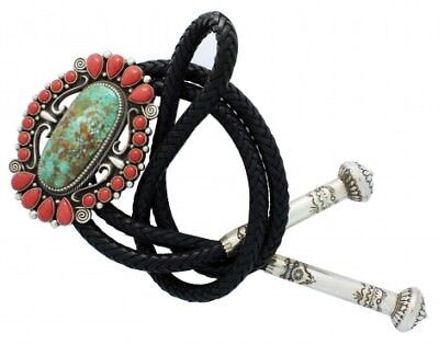 Terry Martinez, Bolo, Turquoise, Mediterranean Coral, Silver, Navajo Made, 44 in