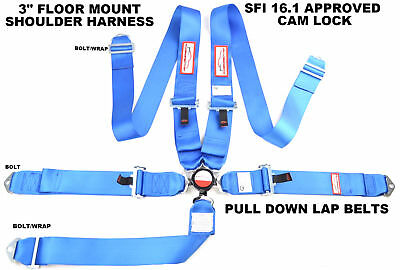 "Floor Mounted Sfi 16.1 Racing Harness 5 Point Seat Belt 3"" Cam Lock Blue"