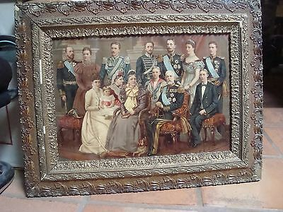 Vintage Antique Swedish Royal Family Original Lithograph period frame in 1896.
