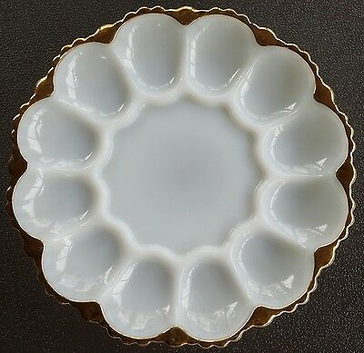 Vtg Anchor Hocking Milk Glass w/22K Gold Trim Deviled Egg Plate Fire-King