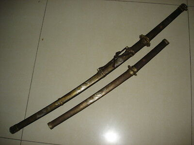 Collectable Japan 2 Samurai Katana Sword &Wakizashi Dragon Saya SHARP BLADE