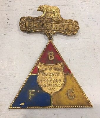 Antique 1902 KNIGHTS of PYTHIAS Pin MEDAL San Francisco CA LODGE Fraternal