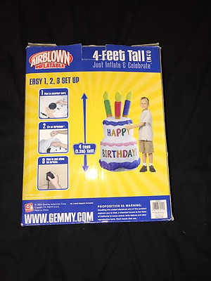Gemmy 4 Ft Airblown Inflatable HAPPY BIRTHDAY Cake w/ Candles in Box
