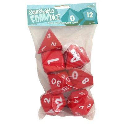 "Squishy Dice Set, Deep Red (2"" Set Of 7 Polyhedral Dice)  - BRAND NEW"