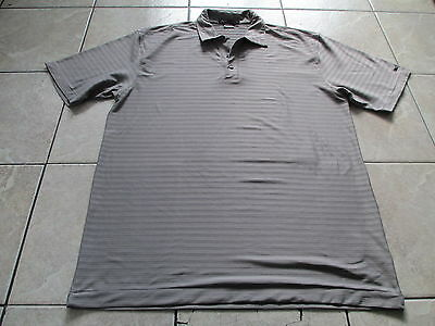 Nike Tiger Woods Collection Beige Gray Striped Golf Polo Shirt X-Large XL 2XL