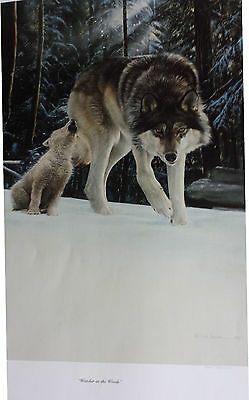 "Bob Travers Wolf Print ""Watcher in the Woods"" S/N 426/750 1987"