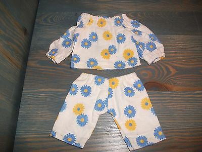 New Handmade For Ag Bitty Baby & Other 15 Inch Dolls, Daisy Print Flannel Set