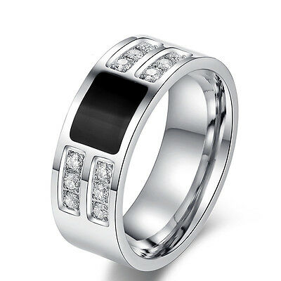 CZ Men's Silver & Black Titanium Steel Crystal Rings Wedding Bands ring for men