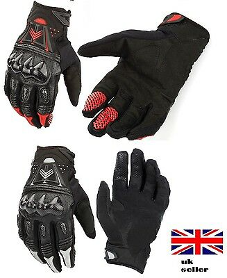 Carbon Protaction BMX Racing Gloves Summer Windproof Full Finger Touch Screen