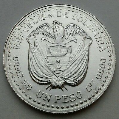 Colombia 1 Peso ND (1956) Mo. KM#216. Silver One Dollar coin. Crown size. UNC.