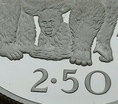 Zaire Congo 2 1/2 Zaires 1975. KM#9 .925 Silver Proof Crown coin. Gorillas. 2-50