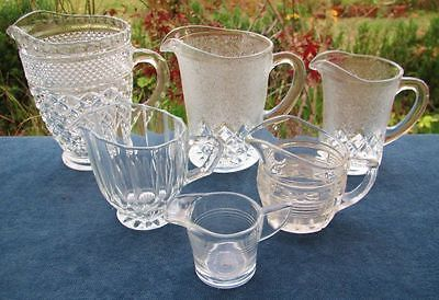 COLLECTION SMALL VINTAGE CLEAR DEPRESSION GLASS JUGS x 6