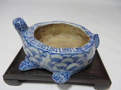 Lovely unusual Chinese blue&white porcelain turtle brush washer