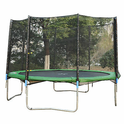 AOSOM 12' Round Trampoline Enclosure Safety Net Fence Replacement 4 Arch 8 Poles