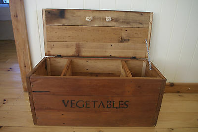 Rustic Large Solid Timber Wooden Vegetables Storage Box Crate Chest 69cm Long