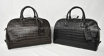 Michael Kors Bryant Medium Embossed-Leather Duffle/Overnight Bag in Black /Brown