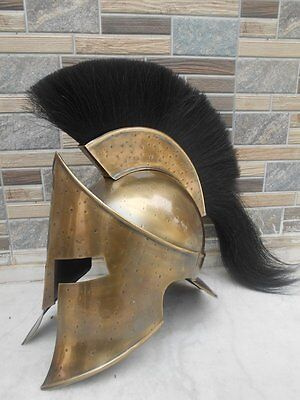 ARMOUR 300 SPARTAN HELMET THE HALLOWEEN WITH BLACK PLUME ANTIQUE FINISH Gift