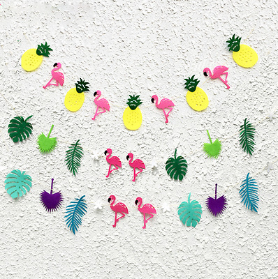 Flamingo Pineapple Garland Leaves Banner Summer Home Birthday Party Bunting C