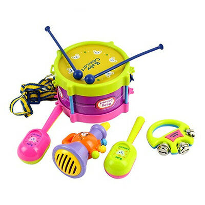 New 5pcs Roll Drum Musical Instruments Band Kit Kids Children Toy Gift Set D2T2