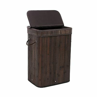SONGMICS Bamboo Laundry Basket Folding Hamper with Lid and Liner Laundry Stor...