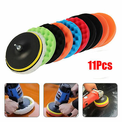 11Pcs 7'' 180mm Waxing Buffing Polishing Sponge Pads Car Polisher Drill Adapter