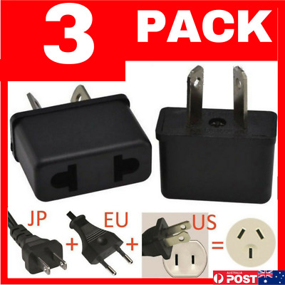3 PACK USA EU EURO ASIA to AU AUS AUST AUSTRALIAN POWER PLUGs TRAVEL ADAPTER 3PC