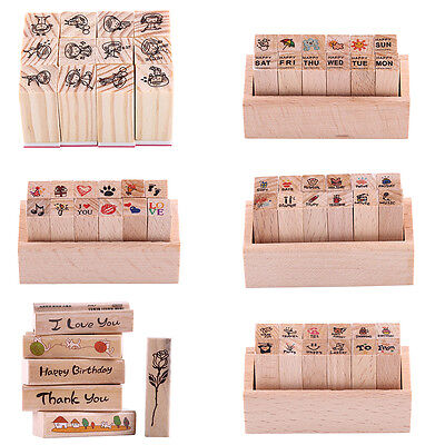 Wooden Rubber Stamp Box for DIY Diary Writing Scrapbook Rubber Seal Stamp Craft